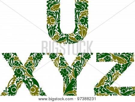 Vector letters decorated with seasonal leaves, U, X, Y, Z. Vintage ornamental typescript.