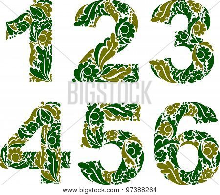 Vector numeration decorated with seasonal green leaves, 1, 2, 3, 4, 5, 6. Vintage ornamental numbers