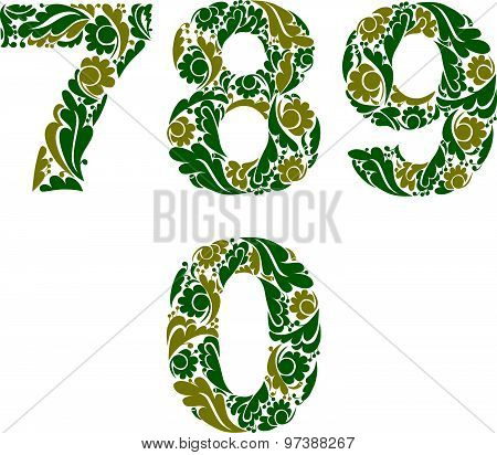 Spring style vector digits set, numbers with eco floral ornament. 7, 8, 9, 0.