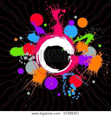 Artistic colorful abstract dirty ink template, messy transparent scanned and traced splashing
