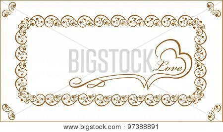 Gold frame for congratulation young lovers