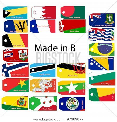 Illustration Vector Price Tag With Word Made In Country's Name Start With Letter B