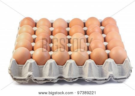 Group of Fresh Hen Eggs in paper tray.