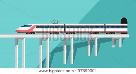 Travel by train. Passenger train.