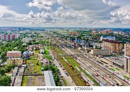 Tyumen railway node. Industrial district. Russia