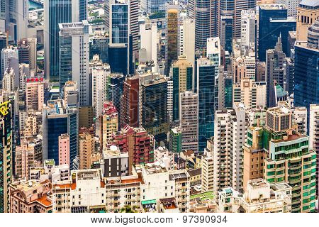 Panoramic Skyline Of Hong Kong City From The Peak