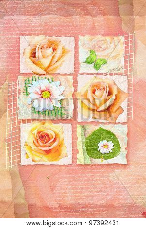 Card With Pictures Of Flowers In Frameworks And Handwritten Text