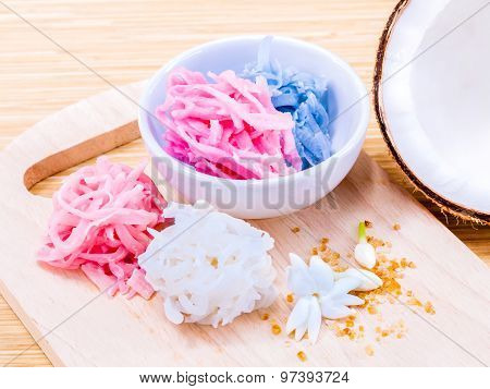 A Colorful Traditional Coconut Dessert Made From Grated Coconut And Sugar .