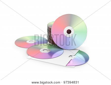 Cd / Dvd Disks Isolated On White.