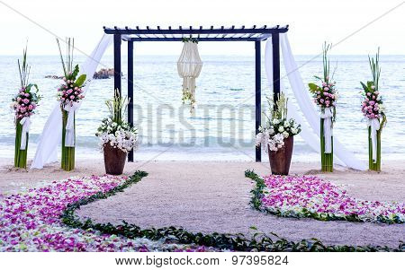 Wedding Setting Venue On The Beach .