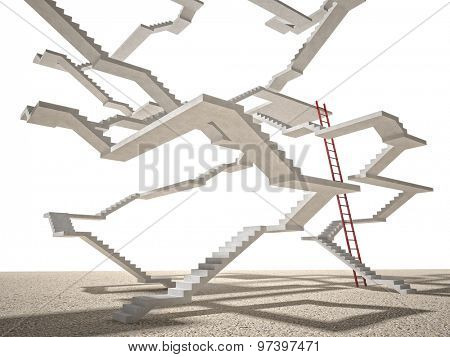 3d image of concrete endless stair on white