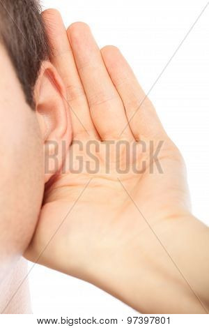 Young Man Listening To Gossip