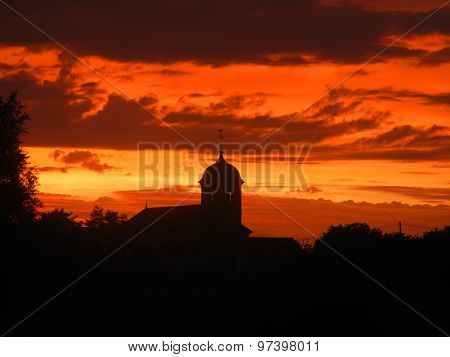 amazing sunset on a church, Citey, France