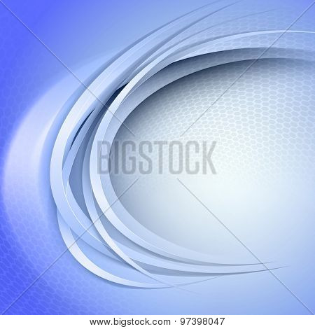 Abstract blue background with circle light and shadow lines