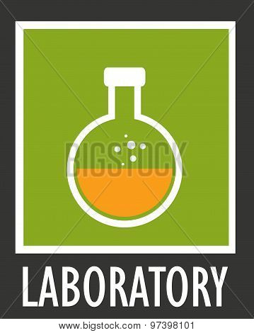 Vector icon simple laboratory flask with liquid