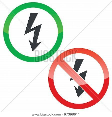 Voltage permission signs set