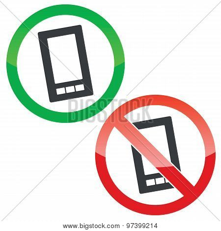 Smartphone permission signs set