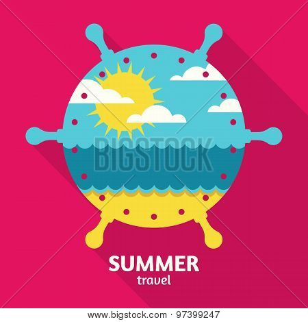 Vector Summer Sea Travel Colorful Abstract Background With Place For Text.