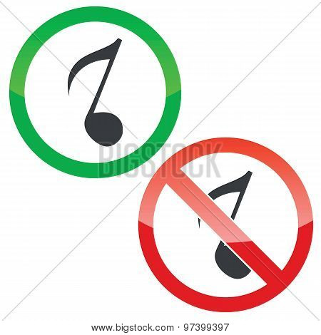 Music permission signs set 3