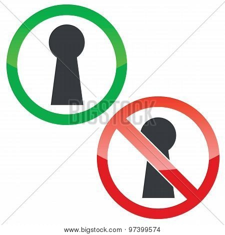 Keyhole permission signs set