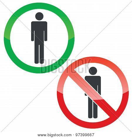 Man permission signs set