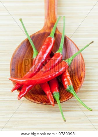 Cooking Ingredients. - Chilli On Wooden Panel.