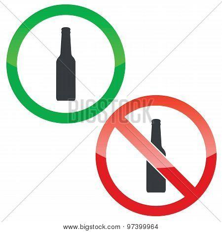 Alcohol permission signs set
