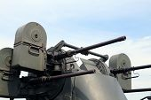 Постер, плакат: Military Truck With A Deadly Machine Gun On The Roof