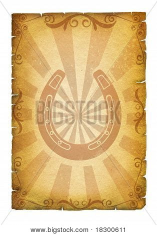 Old Paper Texture With Horseshoes For Design.cowboy Poster