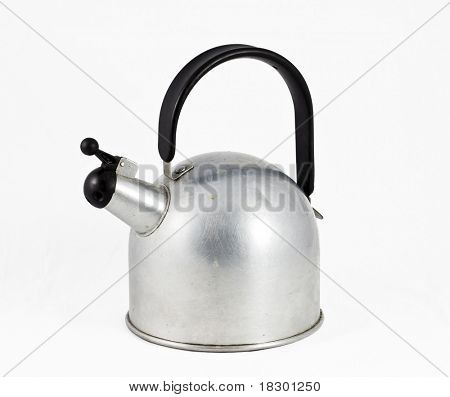retro aluminium teapot with black plastic handle and clipping path