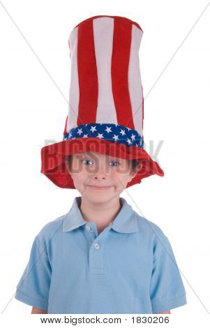 Boy Wearing Stars And Stripes Hat