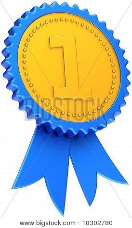 Award ribbon golden blue badge