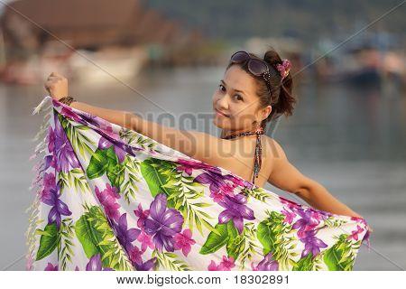 Asian Woman With Sarong