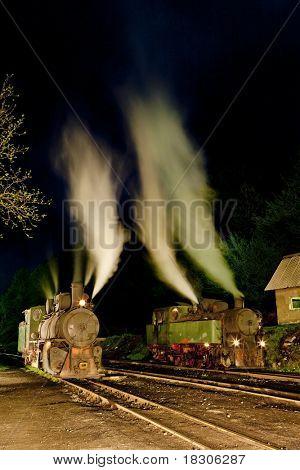 steam locomotives at night, Oskova, Bosnia and Hercegovina