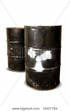 Toxic Drum Barrels Isolated On White