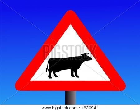 Warning Cattle Sign