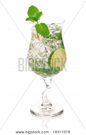 Green Fresh Alcohol Mojito Cocktail In A Cocktails Glass