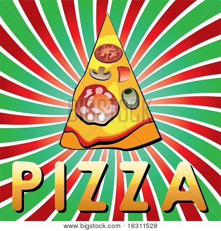 Vector Italian Pizza Slice On Shiny Retro Background