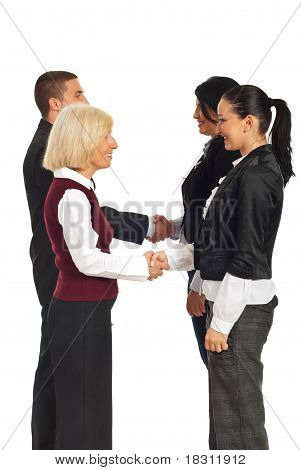 Happy Business People Handshakes