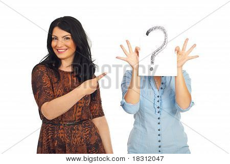 Woman Pointing To Unknown Friend