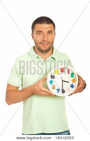 Happy Casual Man Holding Clock