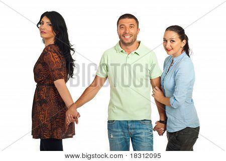 Ontrouw Man tussen twee vrouwen