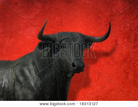Bull head with red background