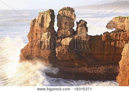 Pancake Rock Canyon At Western Coast In New Zealand