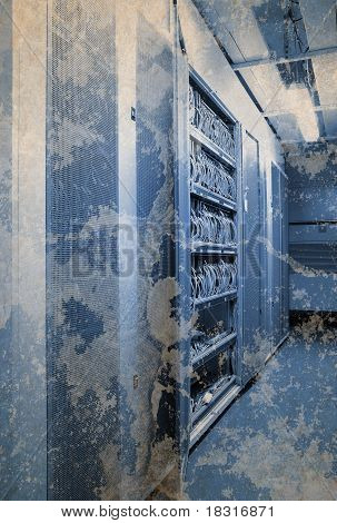 abstract the communication and internet network server room grunge style