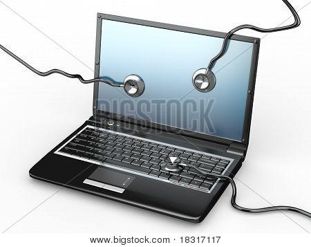Servicio de reparación del ordenador portátil. Ordenador portátil y un estetoscopio