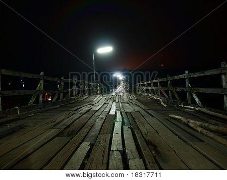 Early Morning at Longest wood bridge link between Thailand and Myanmar at Sangkha Buri, Thailand