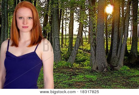 Beautiful Woman In A Spring Forest