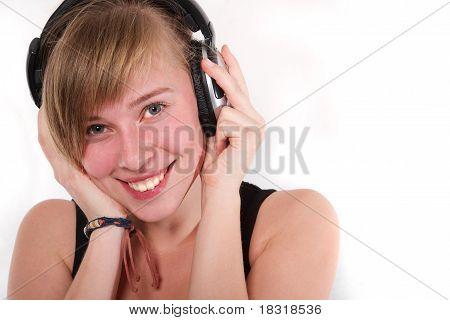 Girl In Headphones Isolated On White