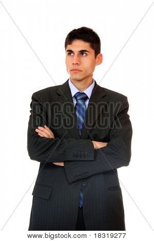 Handsome businessman isolated on white.